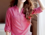 Самое популярное | Obaldet | PRE-ORDER *Stylish Round Collar Adjustable Sleeve Thickening Chiffon Blouse*